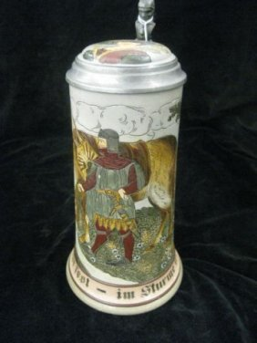 23: German Etched Pottery Stein, inlaid top, knight & h