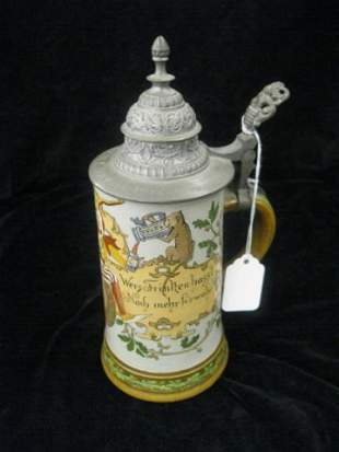 24: H.R. Etched Pottery Stein, jester, cat & owl, 1/2 l