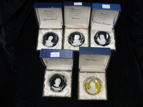 502: 5 Baccarat Sulfide Paperweights;Theodore Roosevelt