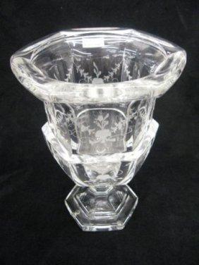506: Tiffany Crystal Vase, fine etched florals, signed,