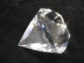 507: Tiffany Cut Crystal Paperweight, diamond form, sig