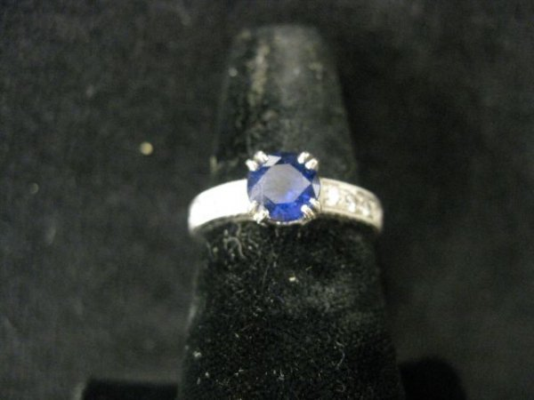 510A: Sapphire & Diamond Ring, 1 carat round deep blue