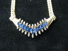 510B: Sapphire & Diamond Necklace, marquise blue gems t