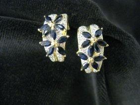 511B: Sapphire & Diamond Earrings, blue gems
