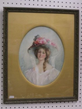 512: Marion Markham Watercolor, Young Lady in hat, well