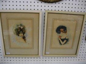513: Pair of Victorian Watercolors of Woman in Fancy Ha