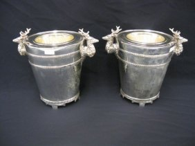 514: Pair of Silverplate Wine Coolers, elk head & Greek