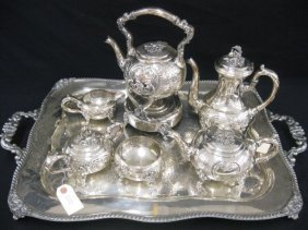 516: 7 pc. Silverplate Tea & Coffee Service, hand-chase