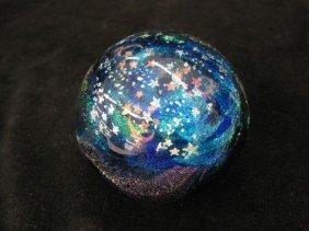 517: Studio Art Glass Paperweight, metallic moon & star