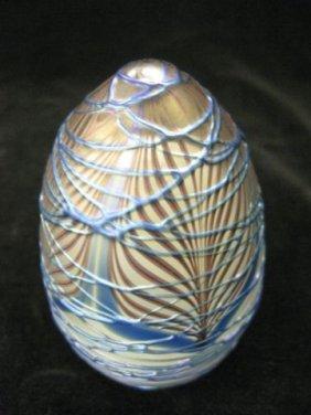 519: Vandermark Art Glass Paperweight, blue trailing th