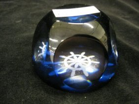 522: French Art Glass Paperweight, rich blue with cut c