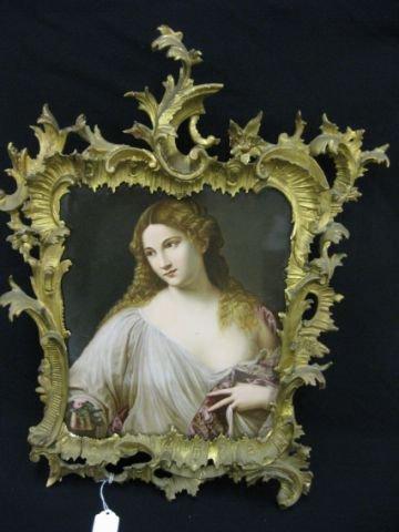 649: Large K.P.M. Porcelain Plaque of Lady carved frame