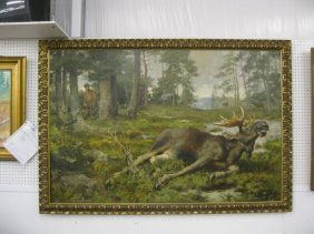 """793: Alfred Williams Strutt Oil on Canvas, """"The Moose H"""