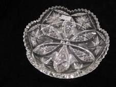 800B Brilliant Period Cut Glass Dish six lobe center