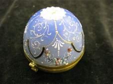 896 Victorian Art Glass Dresser Box enameled blue egg