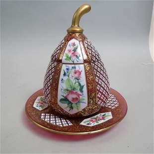 Moser Bohemian Art Glass Jar & Underplate,