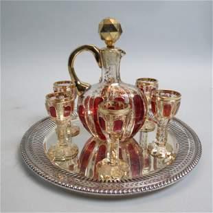 Moser Bohemian Art Glass Decanter & Cordials,