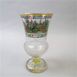 Bohemian Enameled and Cut Glass Vase,