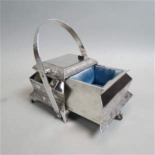 Victorian Silverplate Mechanical Jewelry Box,