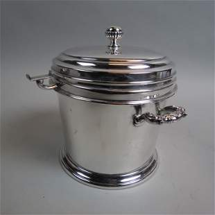 Silverplate Ice Bucket with Mercury Glass Liner,