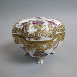 Meissen Porcelain Footed Box,