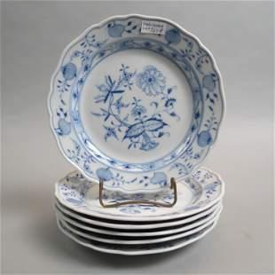 """6 Meissen """"Blue Onion"""" Porcelain Plates,"""