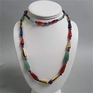 Gemstone Bead Necklace,