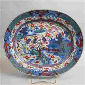 Chinese Lowestoft Porcelain Clobbered Platter,