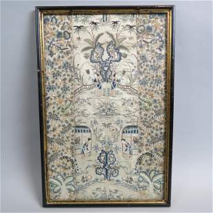 Chinese Silk Embroidery with Villagers & Animals,