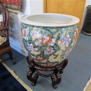 Chinese Porcelain Fishbowl Jardiniere,