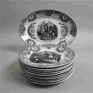 11 pc. French Boch Freres Pottery Napoleonic Set,