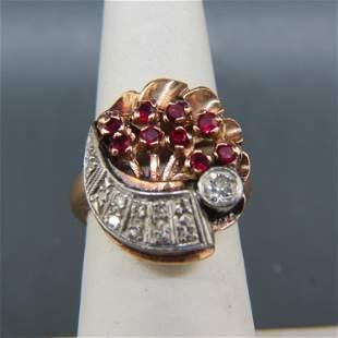 Ruby & Diamond 14K Rose Gold Retro Ring,