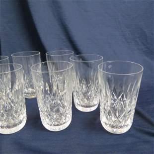 "8 Waterford Crystal ""Lismore"" Flat Tumblers,"