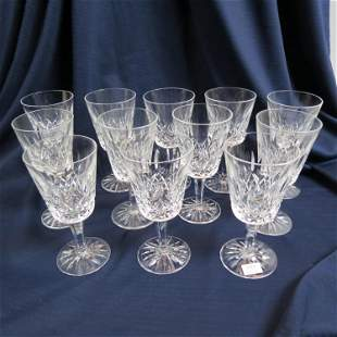 """12 Waterford Crystal """"Lismore"""" Water Goblets,"""