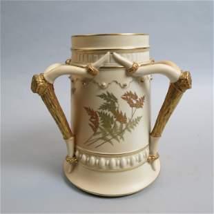 Royal Worcester Porcelain Loving Cup Vase,