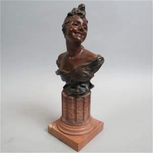 Georges van der Straeten Bronze Bust of Woman,