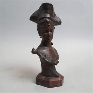 Georges van der Straeten Bronze Bust of a Lady,