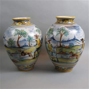 Pair of Italian Majolica Style Pottery Floor Vases