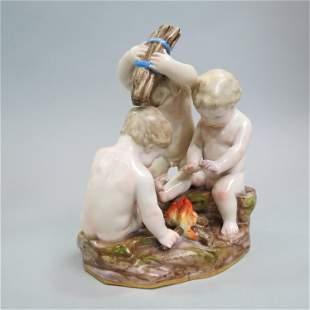 Meissen Porcelain Figurine of Three Putti,