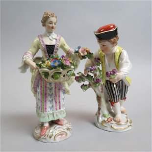 Pair of Meissen Porcelain Flower Seller Figurines,