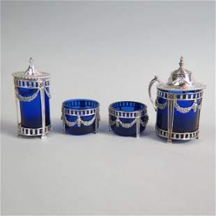 4 pc. European Silver Tableware Set,
