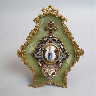 French Champleve Enamel Holy Water Font,