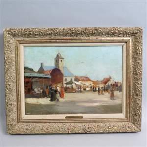 Eugene Boudin, oil, City Fair Scene,