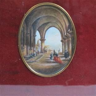 Miniature Painting of Italian Cityscape,