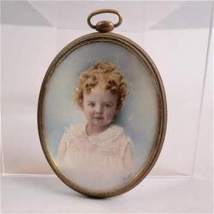 Miniature Painting of a Young Girl Signed,