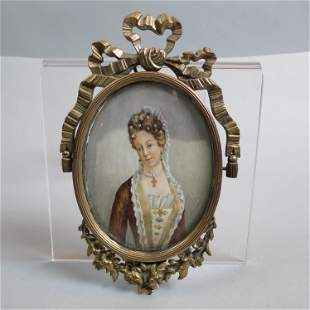 Miniature Portrait Painting of a Countess,