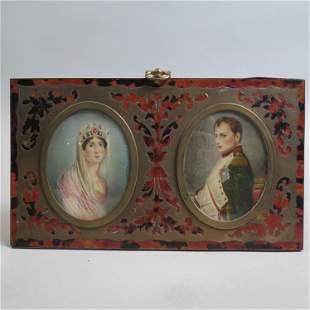 French Miniature Portraits Napoleon & Josephine,