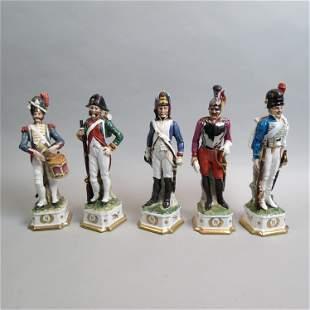5 Napoleonic Porcelain Figurines,