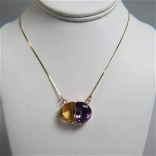 Amethyst & Citrine 14K Gold Pendant & Chain,