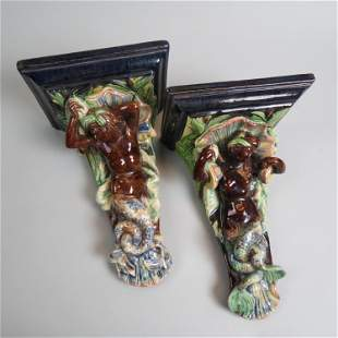 Pair of European Majolica Pottery Wall Sconces,